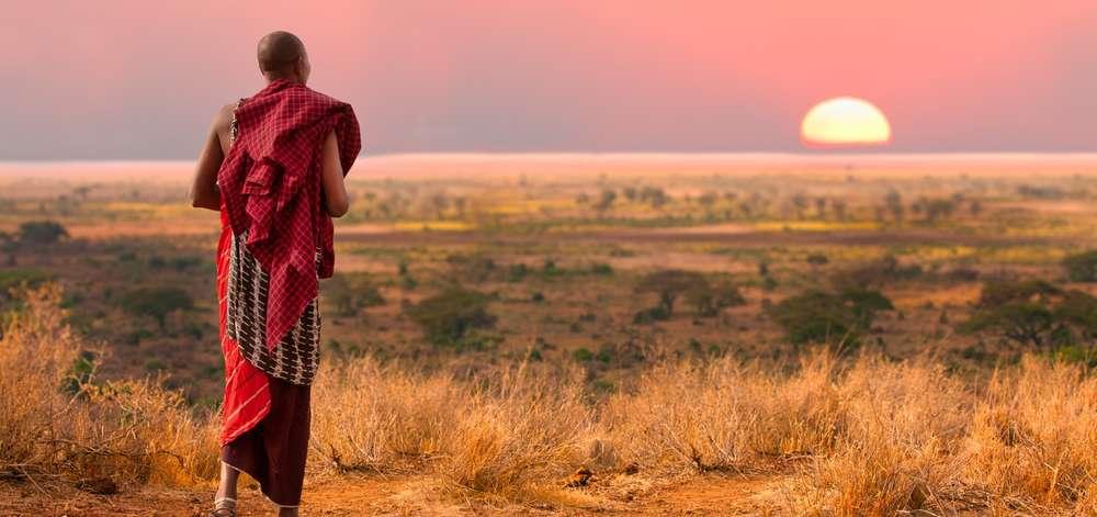 Masaï au Coucher du Soleil